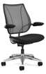 Ergolab Liberty Adj arms polished aluminium frame black seat
