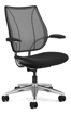 Ergolab Liberty Fxd arms polished aluminium frame black seat