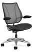 Ergolab Liberty Adj arms polished aluminium frame black leather seat