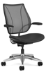 Ergolab Liberty Fixed arms polished aluminium frame black leather seat